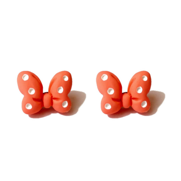 Orange Polka Dot Mouse Bow Post Earrings