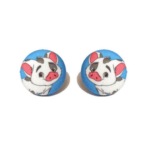 Pua The Pig Moana Inspired Fabric Button Earrings