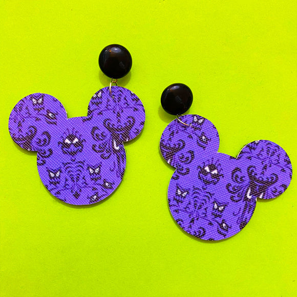Purple Haunted Mansion Wallpaper Print Mouse Drop Earrings