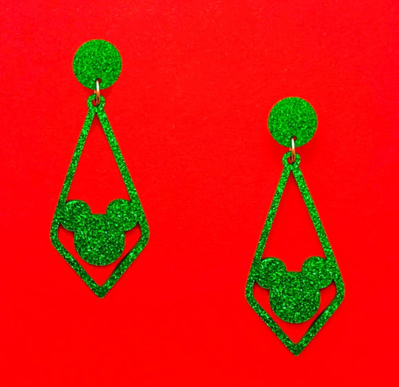 Green Sparkle Geometric Rhombus Mouse Silhouette Drop Earrings