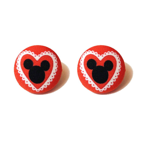 Mouse Valentine Fabric Button Earrings