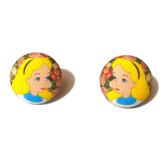 Alice Floral Print Fabric Button Earrings