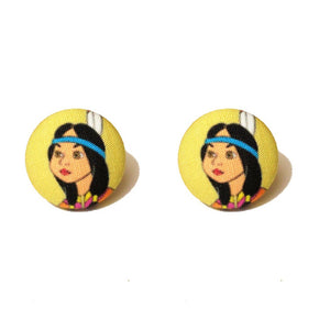 Tiger Lily Fabric Button Earrings