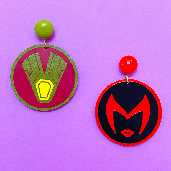 WandaVision Scarlet Witch & Vision Round Logo Drop Earrings