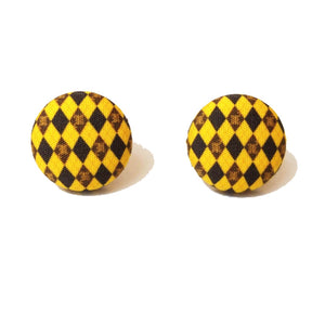 Hufflepuff Argyle Print Harry Potter Inspired Fabric Button Earring
