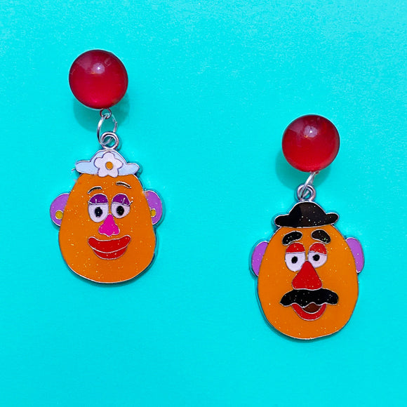 Mr. & Mrs. Potato Head Enamel Drop Earrings