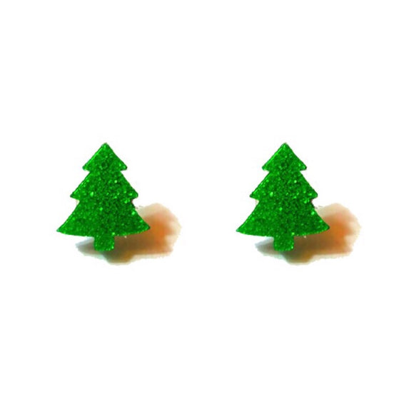 Dainty Sparkle Green Christmas Tree Post Earrings