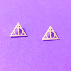 Minimalist Silver Deathly Hallows Post Earrings