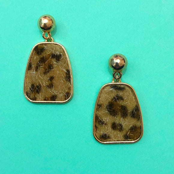 Gold Geometric Fuzzy Leopard Print Drop Earrings