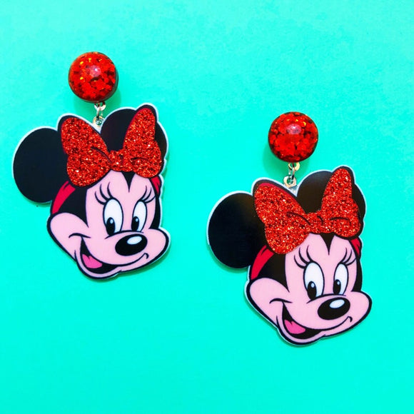 Retro Sparkle Minnie Mouse Head Drop Acrylic Earrings