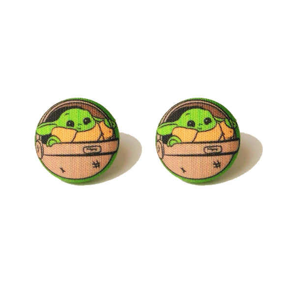Baby Yoda Carriage Star Wars Fabric Button Earrings