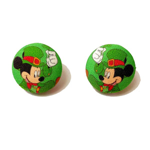 Mickey Leprechaun St. Patrick's Day Inspired Fabric Button Earrings