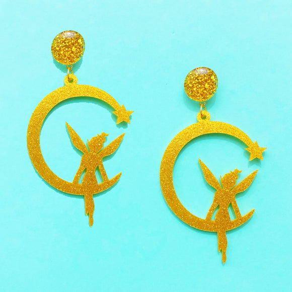 Tinker Bell Fairy Silhouette Gold Glitter Acrylic Drop Earrings