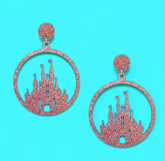 Rose Gold Sparkle Castle Silhouette Hoop Acrylic Drop Earring
