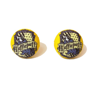 HufflePuff House Emblem Inspired Fabric Button Earring