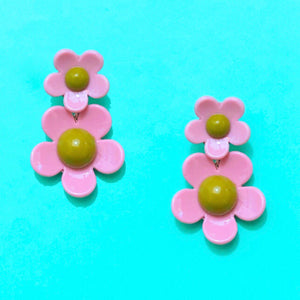 Pink & Olive Green Retro Double Flower Drop Earrings