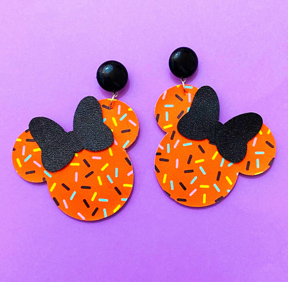 Halloween Orange Sprinkles Print Minnie Mouse Drop Earrings