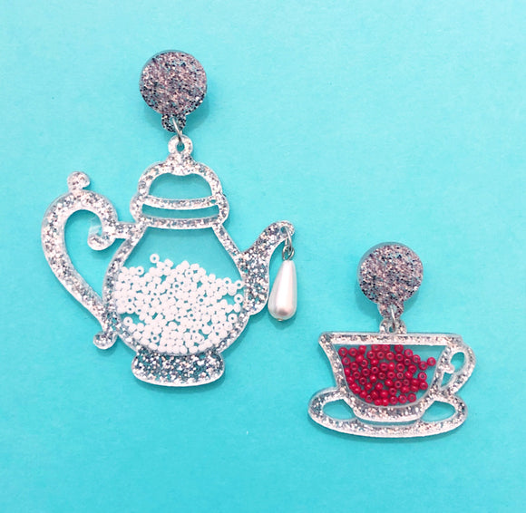 Silver Tea Party Acrylic Alice in Wonderland Drop Earrings