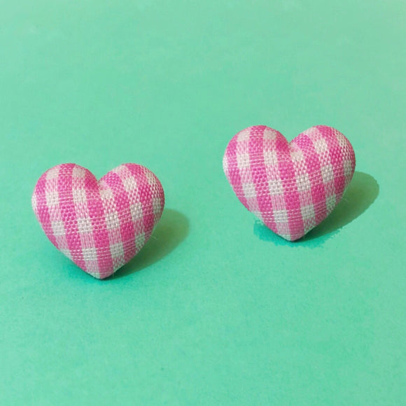 Pastel Pink Gingham Heart Fabric Button Earrings