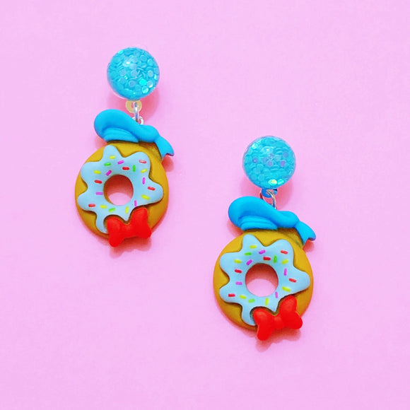 Mini Donald Duck Donut Drop Earrings
