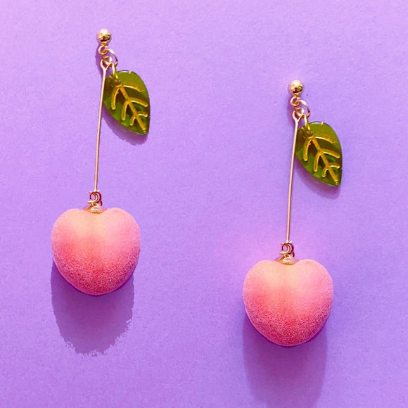 Gold Peach & Leaf Hanging Drop Earrings