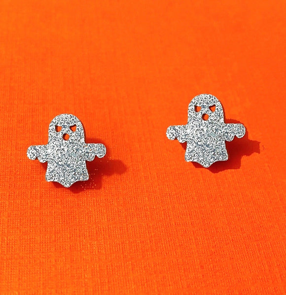 Silver Sparkle Ghost Dainty Post Earrings