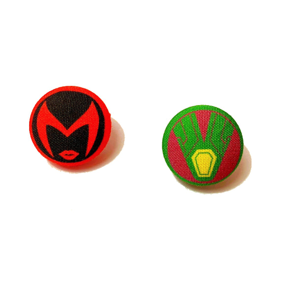 WandaVision Scarlet Witch & Vision Fabric Button Earrings