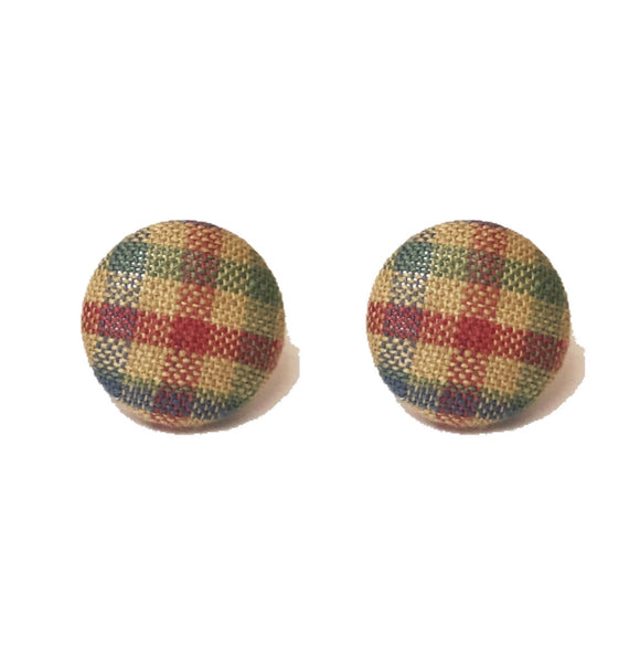 """Jane"" Multi Color Autumn Fall Fabric Button Earrings"