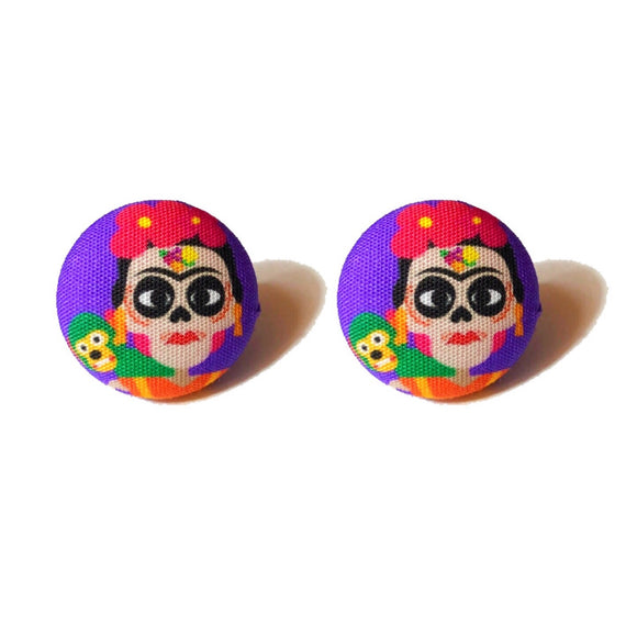 Frida Kahlo Coco Inspired Fabric Button Earrings
