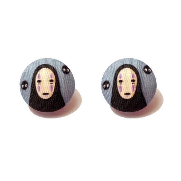 No-Face Spirited Away Inspired Fabric Button Earrings
