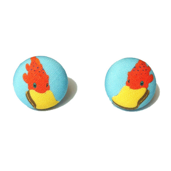 Pudge The Fish Lilo & Stitch Inspired Fabric Button Earrings