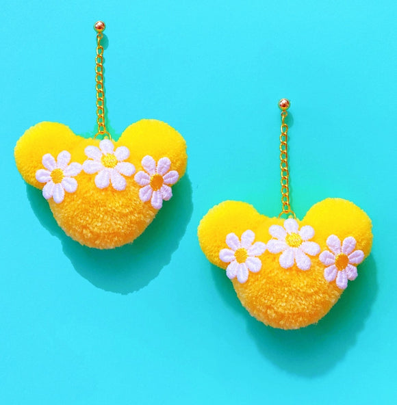 Yellow & White Daisy Flower Crown Mouse Yarn Pom Pom Hanging Drop Earrings