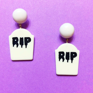 White Tombstone RIP Resin Drop Earrings