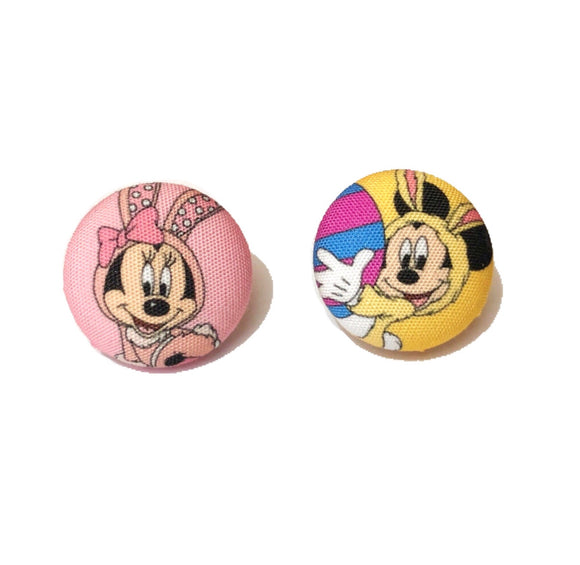 Minnie & Mickey Easter Bunny Pastel Fabric Button Earrings