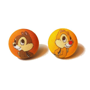 Chip & Dale Back to Back Fabric Button Earrings