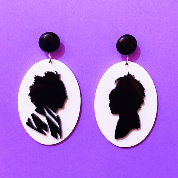 Lydia & Beetlejuice Cameo Acrylic Drop Earrings