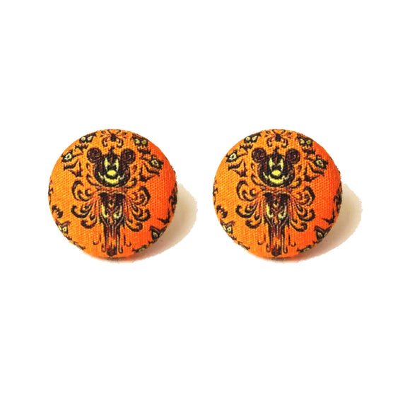 Orange Mouse Haunted Mansion Wallpaper Inspired Button Earrings
