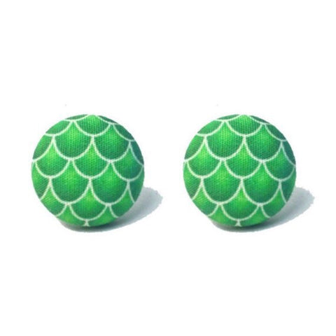 Green Mermaid Scale Fabric Button Earrings