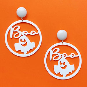 "White ""Boo"" Ghost Silhouette Round Acrylic Drop Earrings"