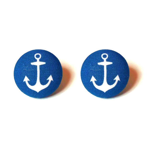 Navy Blue Anchor Fabric Button Earrings