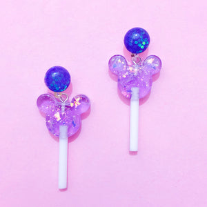 Mini Sparkle Purple Mouse Lollipop Drop Earrings