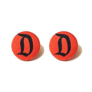 Disneyland D Red & Black Fabric Button Earrings