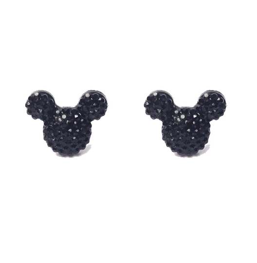 Black Sparkle Mouse Earrings