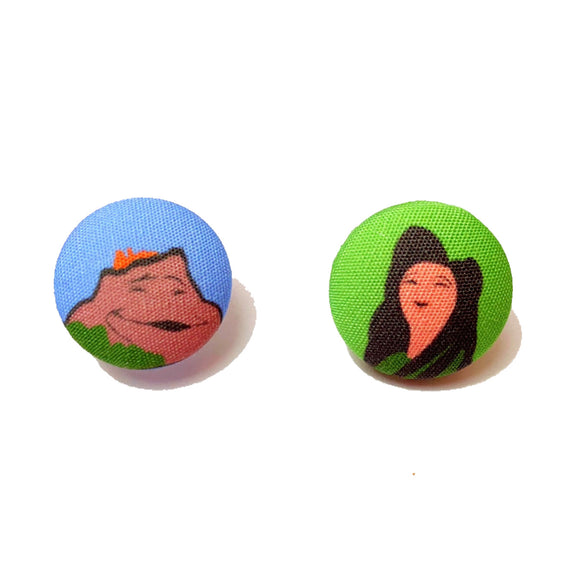 Lava Inspired Fabric Button Earrings
