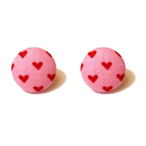 Pink & Red Heart Fabric Button Earrings