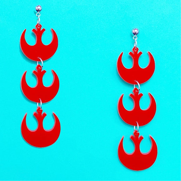 Red Matte Rebel Alliance Stacked Drop Earrings