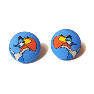 Zazu Lion King Hornbill Bird Fabric Button Earrings
