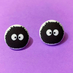 Soot Sprite Fabric Button Earrings