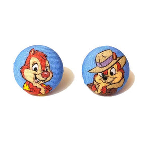 Chip & Dale Rescue Rangers Fabric Button Earrings