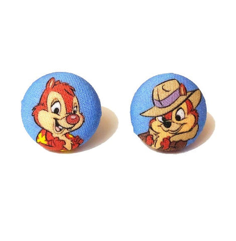 Chipmunk Rangers Fabric Button Earrings